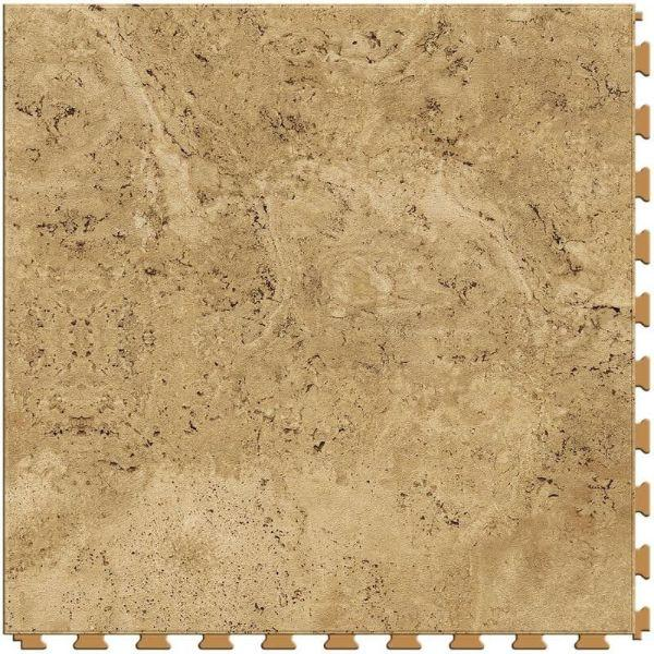 "Perfection Floor Tile Tivoli Stone Luxury Vinyl Tiles - 5mm Thick (20"" x 20"") with Palomino Tivoli Pattern Shown From the Top"