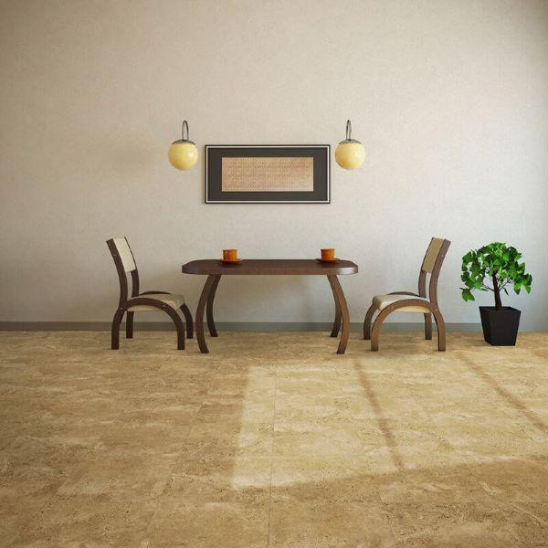 "Perfection Floor Tile Tivoli Stone Luxury Vinyl Tiles - 5mm Thick (20"" x 20"") with Palomino Tivoli Pattern Being Used in a Dining Room"