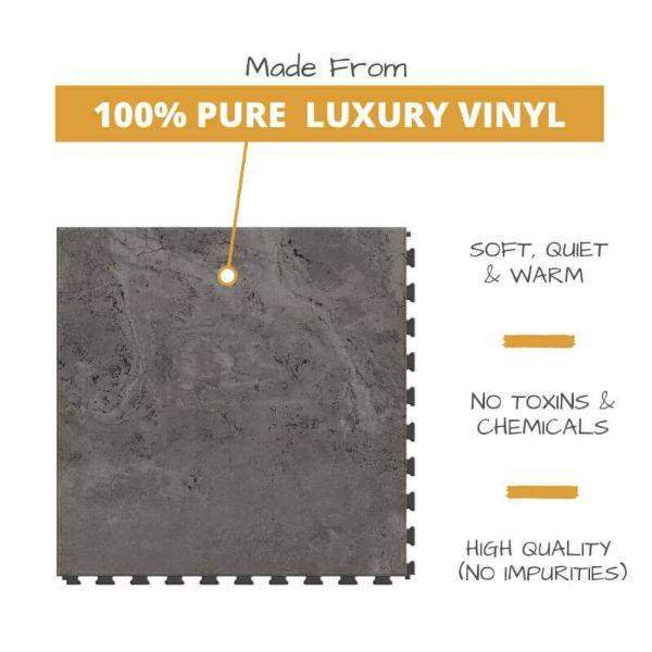 Perfection Floor Tile Tivoli Stone Luxury Vinyl Tiles is 5MM Thick To Ensure Maximum Softness and Durability