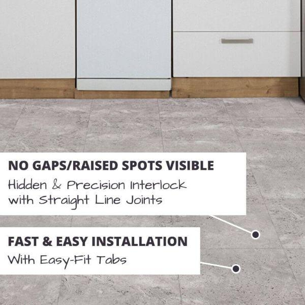 Perfection Floor Tile Tivoli Stone Luxury Vinyl Tiles No Gaps/Raised Spots Visible with Hidden & Precision Interlock with Straight Line Joints.