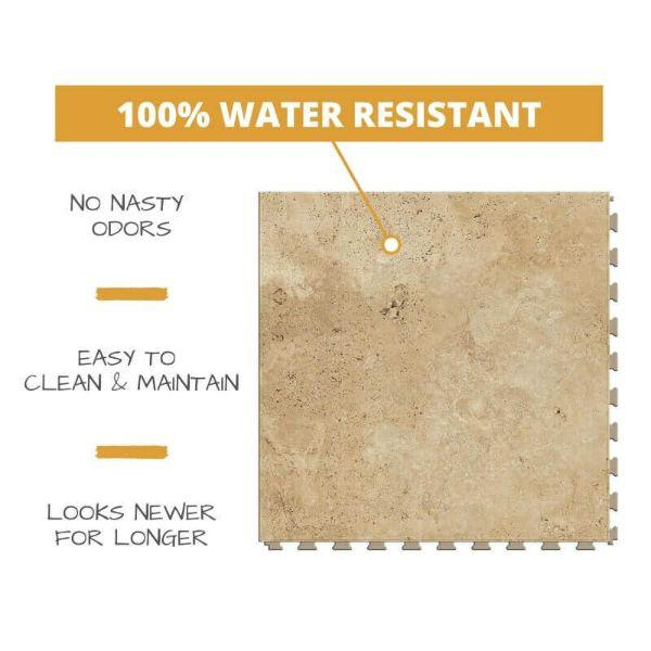 Perfection Floor Tile Tivoli Stone Luxury Vinyl Tiles 100% water resistant to prevent nasty odors, easy to clean and maintain, and looking newer for longer