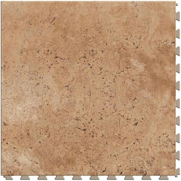 "Perfection Floor Tile Tivoli Stone Luxury Vinyl Tiles - 5mm Thick (20"" x 20"") with Sienna Tivoli Pattern Shown From the Top"