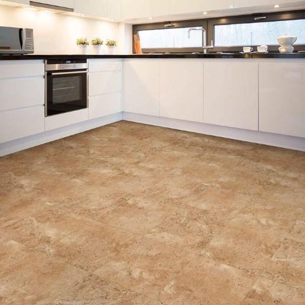 "Perfection Floor Tile Tivoli Stone Luxury Vinyl Tiles - 5mm Thick (20"" x 20"") with Sienna Tivoli Pattern Being Used in a Kitchen"