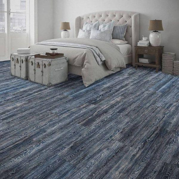 "Perfection Floor Tile Vintage Wood Luxury Vinyl Tiles - 5mm Thick (20"" x 20"") with Artic Oak Wood Pattern Being Used in a Bedroom"