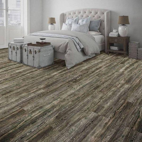 "Perfection Floor Tile Vintage Wood Luxury Vinyl Tiles - 5mm Thick (20"" x 20"") with Mossy Oak Wood Pattern Being Used in a Bedroom"