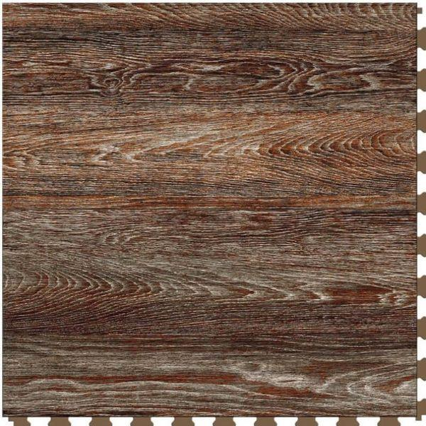 "Perfection Floor Tile Vintage Wood Luxury Vinyl Tiles - 5mm Thick (20"" x 20"") with Rusty Oak Pattern Shown From the Top"