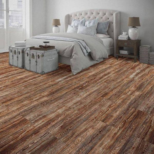 "Perfection Floor Tile Vintage Wood Luxury Vinyl Tiles - 5mm Thick (20"" x 20"") with Rusty Oak Wood Pattern Being Used in a Bedroom"