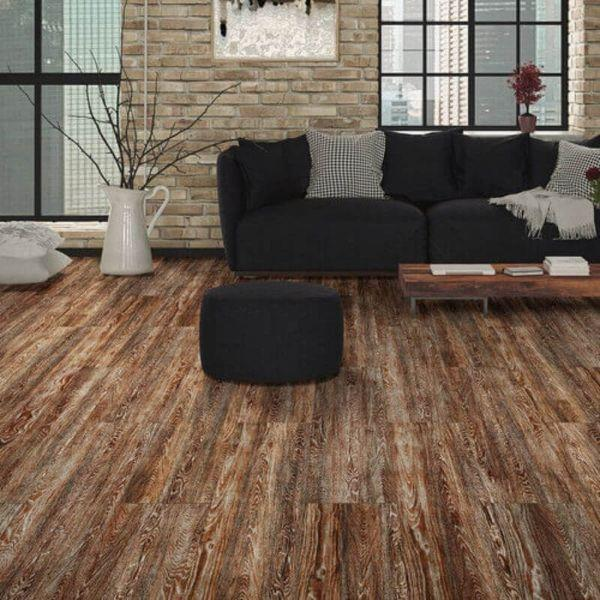 "Perfection Floor Tile Vintage Wood Luxury Vinyl Tiles - 5mm Thick (20"" x 20"") with Rusty Oak Wood Pattern Being Used in a Living Room"