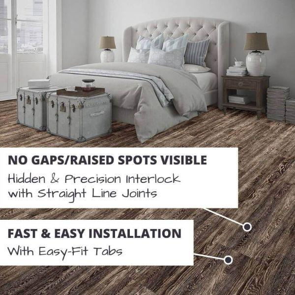 Perfection Floor Tile Vintage Wood Luxury Vinyl Tiles No Gaps/Raised Spots Visible with Hidden & Precision Interlock with Straight Line Joints.