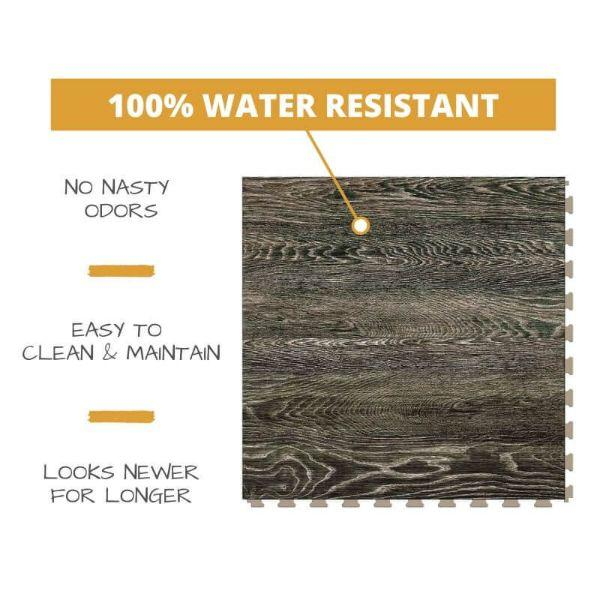 Perfection Floor Tile Vintage Wood Luxury Vinyl Tiles 100% water resistant to prevent nasty odors, easy to clean and maintain, and looking newer for longer