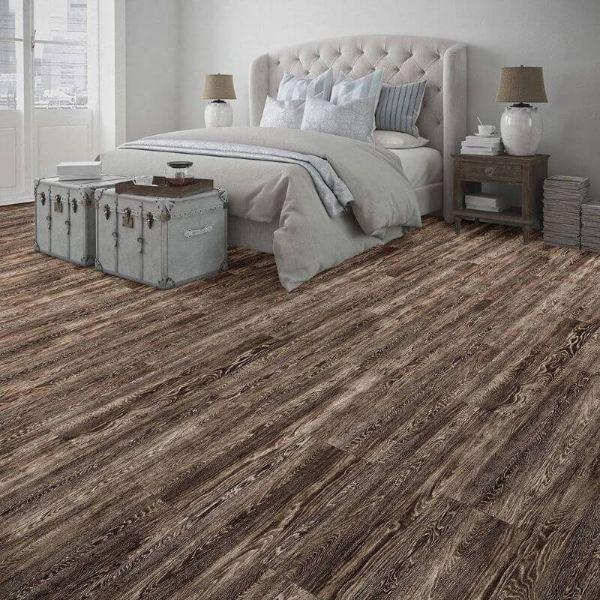 "Perfection Floor Tile Vintage Wood Luxury Vinyl Tiles - 5mm Thick (20"" x 20"") with Sorrel Oak Wood Pattern Being Used in a Bedroom"
