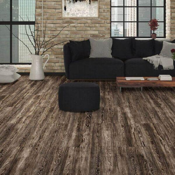 "Perfection Floor Tile Vintage Wood Luxury Vinyl Tiles - 5mm Thick (20"" x 20"") with Sorrel Oak Wood Pattern Being Used in a Living Room"
