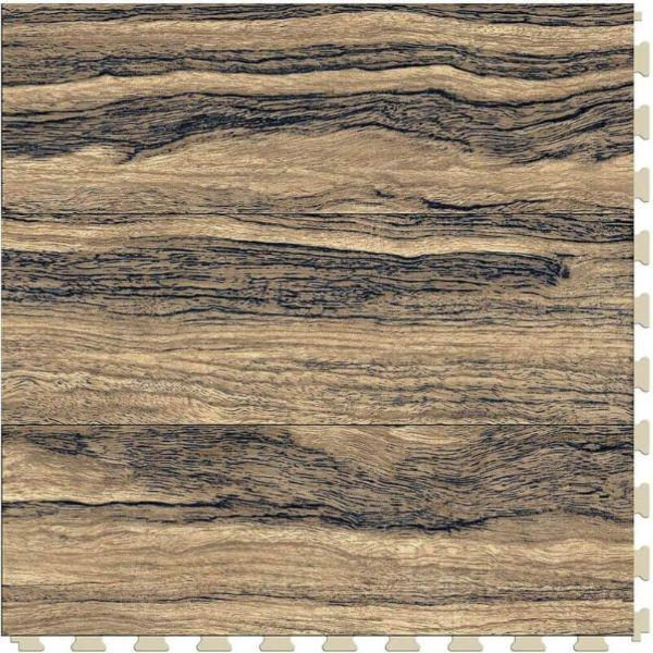 "Perfection Floor Tile Vintage Wood Luxury Vinyl Tiles - 5mm Thick (20"" x 20"") with Zebrawood Pattern Shown From the Top"