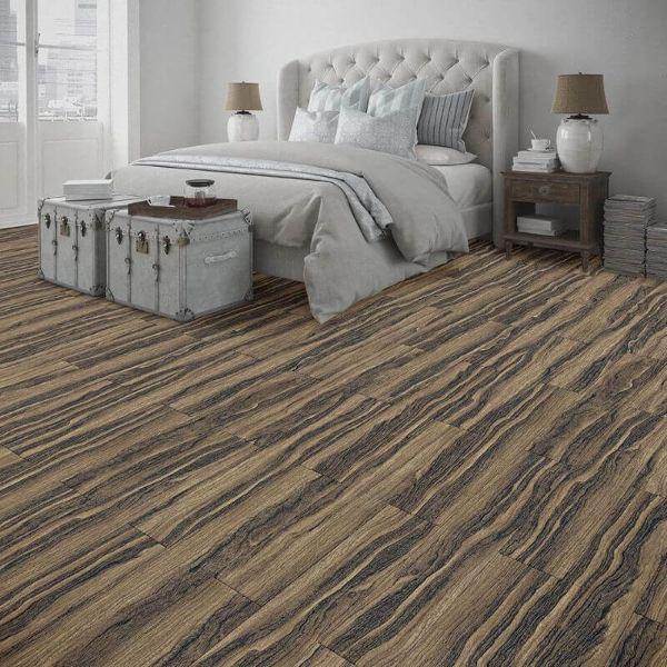 "Perfection Floor Tile Vintage Wood Luxury Vinyl Tiles - 5mm Thick (20"" x 20"") with Zebrawood Pattern Being Used in a Bedroom"