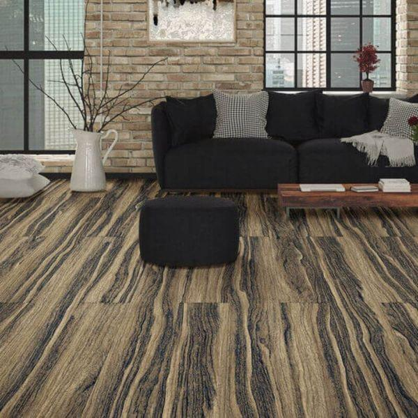 "Perfection Floor Tile Vintage Wood Luxury Vinyl Tiles - 5mm Thick (20"" x 20"") with Zebrawood Pattern Being Used in a Living Room"