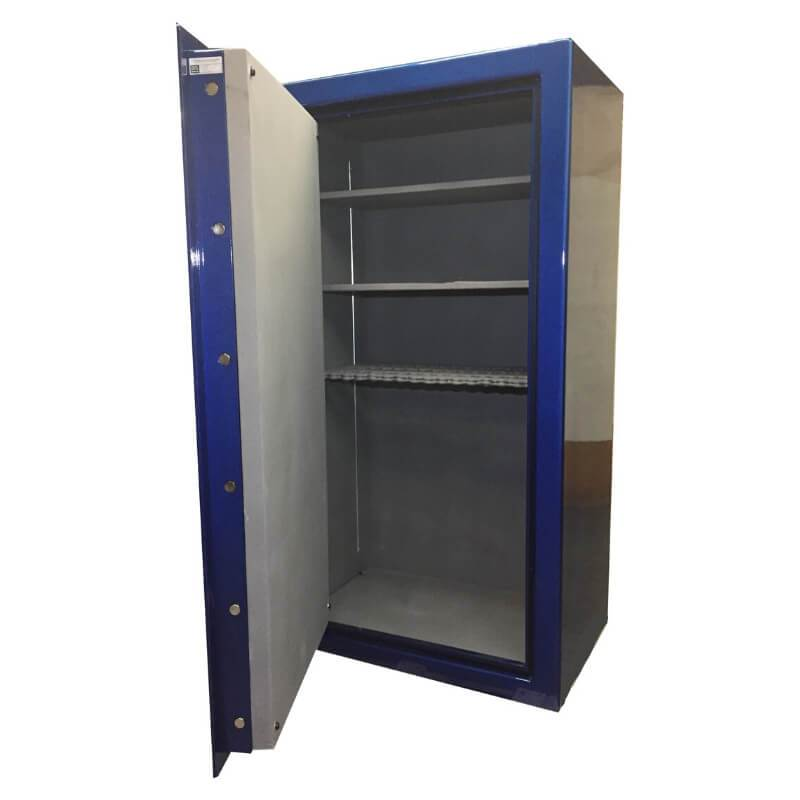 Sun Welding C34 Cavalry Gun Safe in Matte Gray with Doors Opened, Showing Shelving Interior