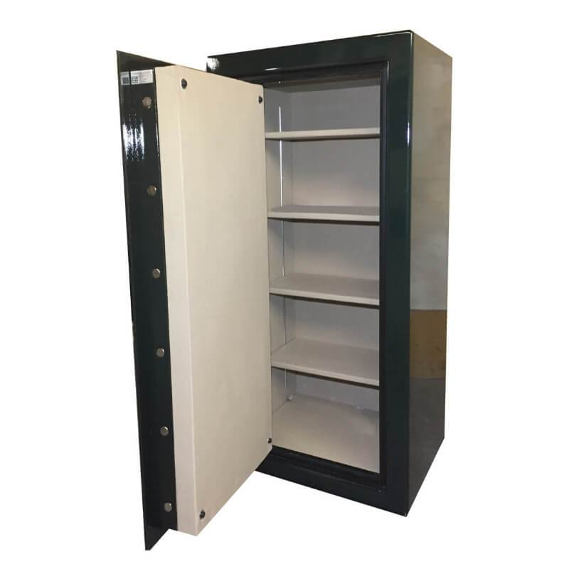 Sun Welding C34 Cavalry Gun Safe in Gloss Black with Doors Opened, Showing Shelving Interior