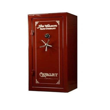 Sun Welding C36 Cavalry Gun Safe in Gloss Burgundy with Doors Closed, Viewed from the Front with 5-Spoke Handles