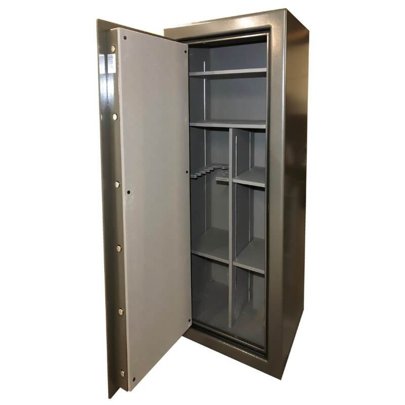 Sun Welding C36T Cavalry Gun Safe in Gloss Granite with Doors Opened Showing Interior Shelving