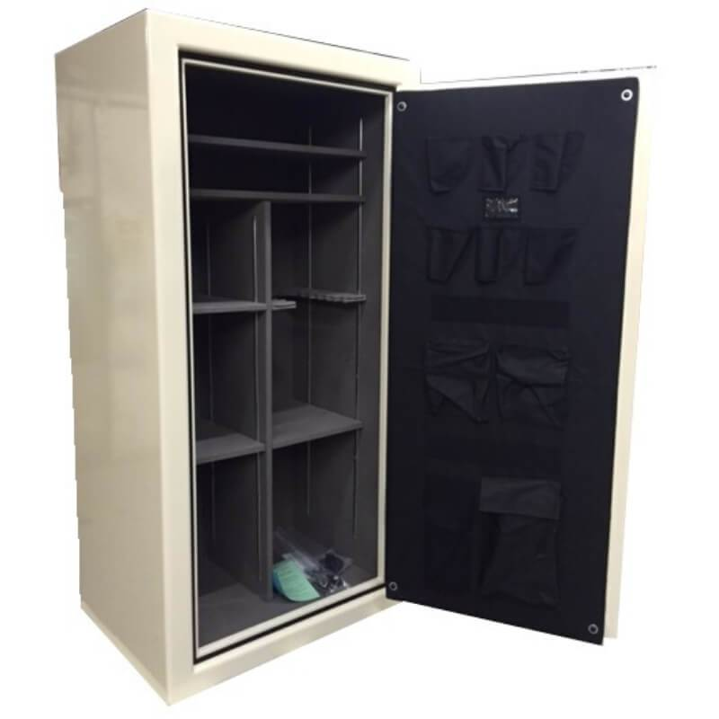 Sun Welding C36T Cavalry Gun Safe in Gloss Champagne with Doors Fully Opened, Showing Shelving Interior