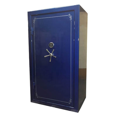 Sun Welding C4028T Cavalry Gun Safe in Gloss Blue with Doors Closed, Viewed from the Front with 5-Spoke Handles