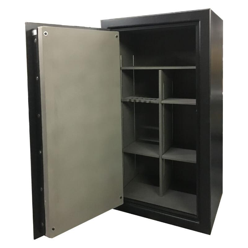 Sun Welding C64 Cavalry Gun Safe in Gloss Granite with Doors Fully Opened, Showing Shelving Interior
