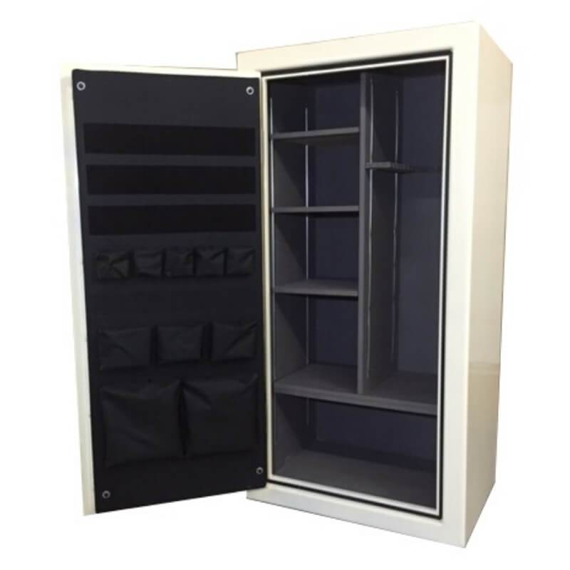 Sun Welding C64 Cavalry Gun Safe in Gloss Ivory with Doors Fully Opened, Showing Shelving Interior