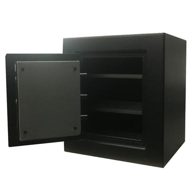 Sun Welding H24 Heirloom Home/Office Fire & Burglary Safe in Matte Gray with Doors Opened Showing Interior Shelving.