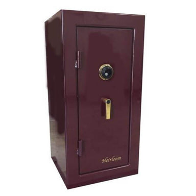 Sun Welding H36 Heirloom Home/Office Fire & Burglary Safe in Gloss Burgundy with Doors Closed.