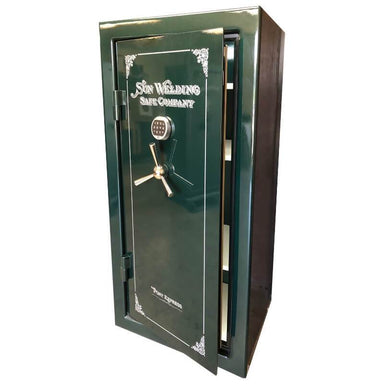 Sun Welding P34 Pony Express Series Fireproof Gun Safe in Gloss Green with Doors Slightly Opened.