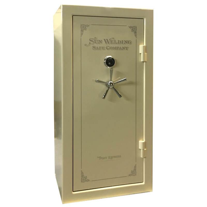Sun Welding P34 Pony Express Series Fireproof Gun Safe in Gloss Champagne with Doors Closed.