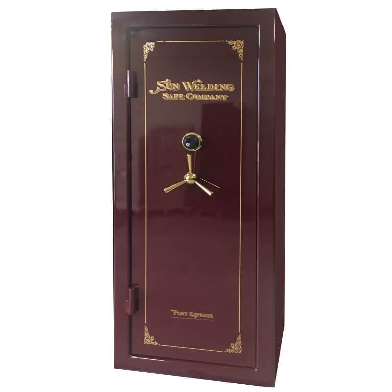 Sun Welding P34 Pony Express Series Fireproof Gun Safe in Gloss Burgundy with Doors Closed.