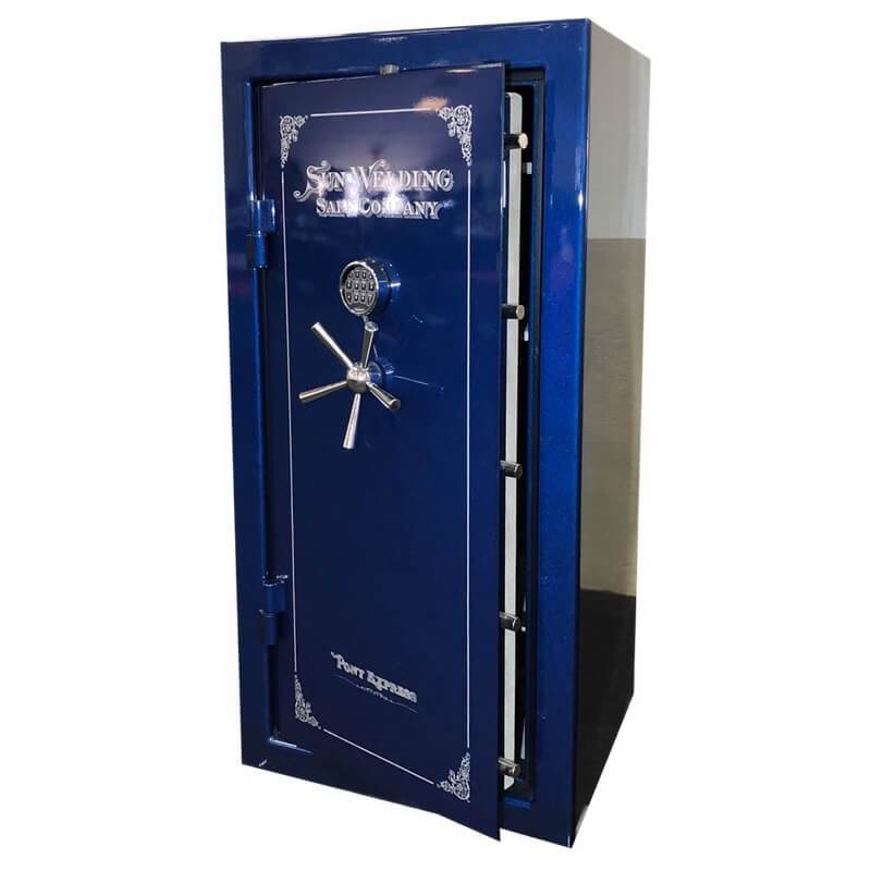 Sun Welding P34 Pony Express Series Fireproof Gun Safe in Gloss Blue with Doors Slightly Opened.