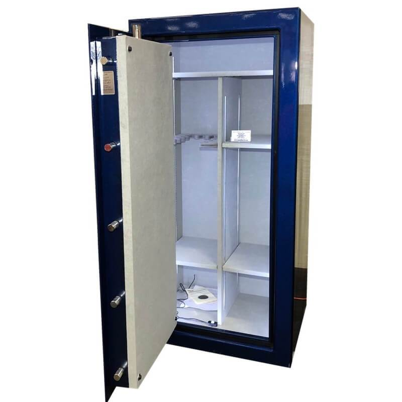 Sun Welding P34 Pony Express Series Fireproof Gun Safe in Gloss Blue with Doors Opened, Revealing Interior Shelving