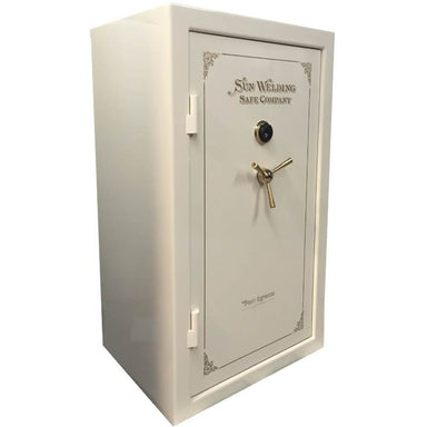 Sun Welding P36 Pony Express Series Fireproof Gun Safe in Gloss Ivory with Doors Closed.