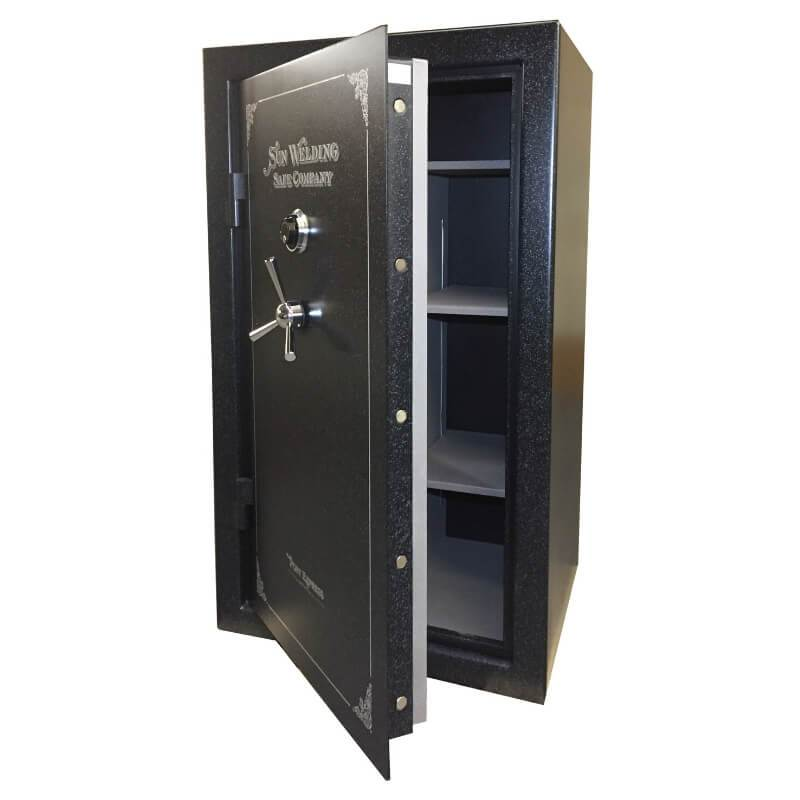 Sun Welding P36 Pony Express Series Fireproof Gun Safe in Matte Gray with Doors Slighty Opened Showing Thick Door Bolts.