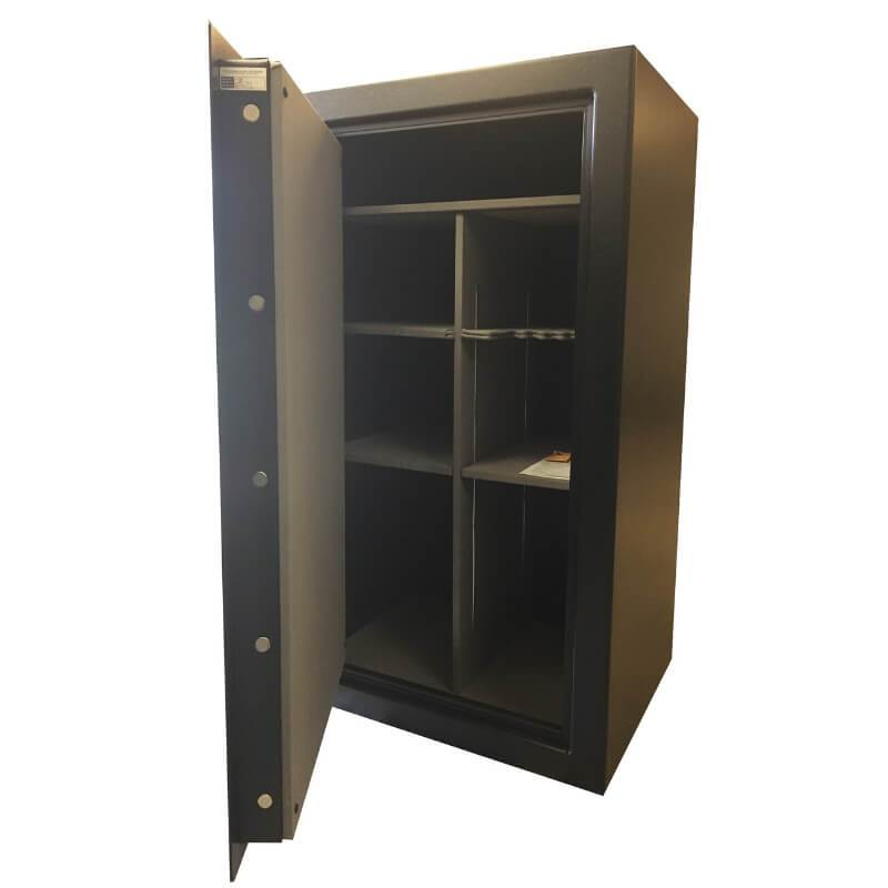 Sun Welding P36 Pony Express Series Fireproof Gun Safe in Matte Gray with Doors Opened Showing Interior Shelving