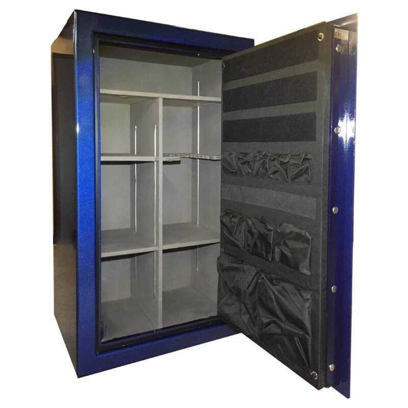 Sun Welding P36 Pony Express Series Fireproof Gun Safe in Gloss Blue with Doors Opened, Revealing Interior Shelving