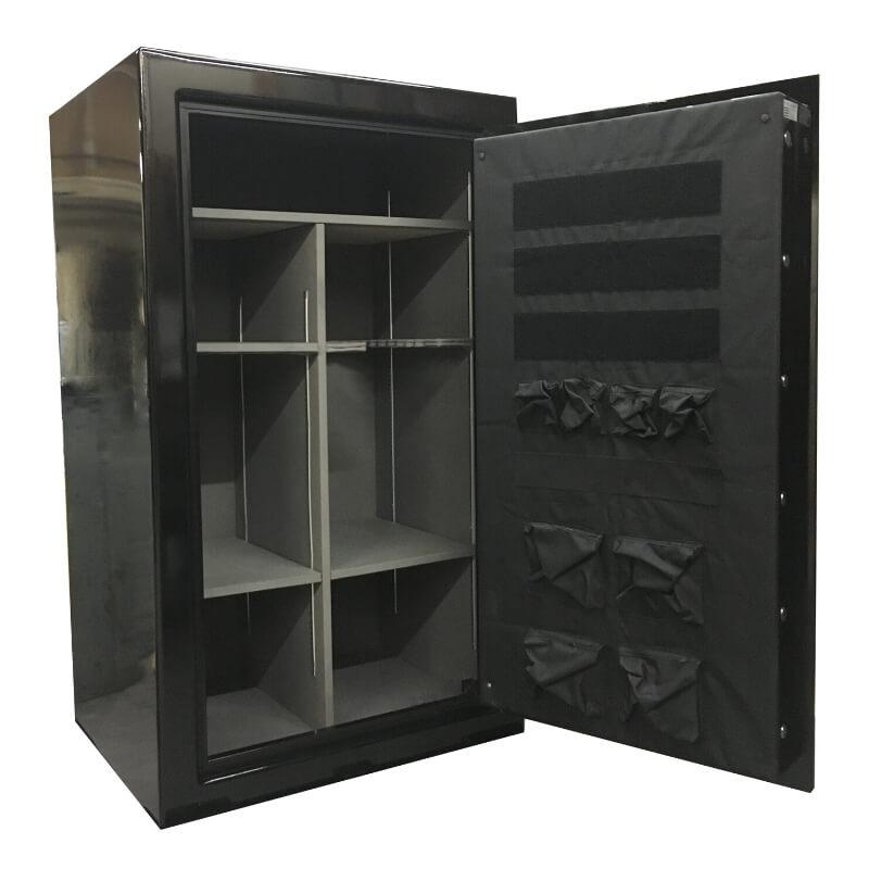 Sun Welding P36 Pony Express Series Fireproof Gun Safe in Gloss Black with Doors Opened, Revealing Interior Shelving
