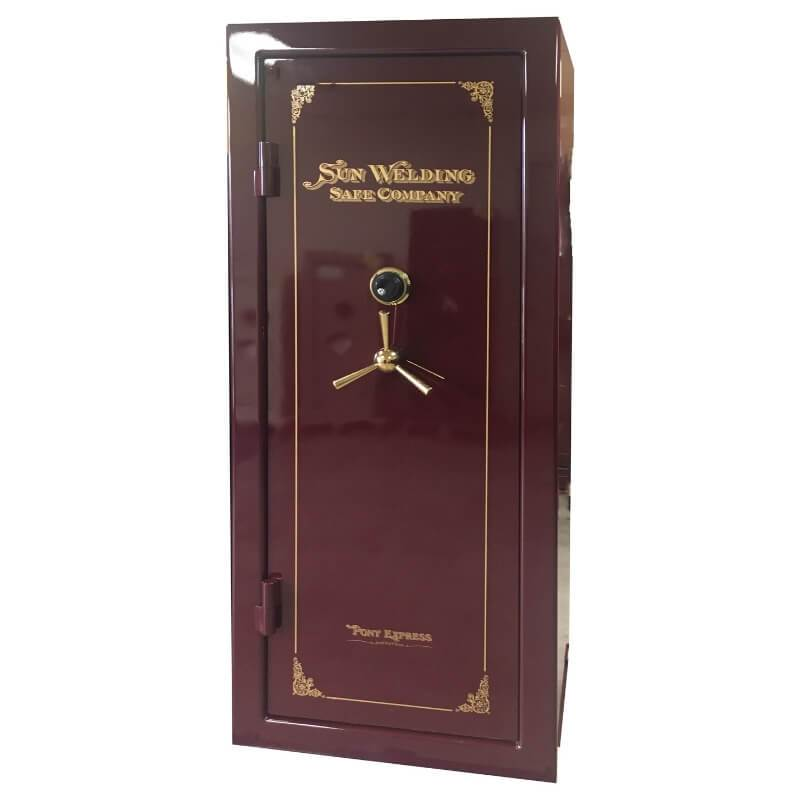 Sun Welding P36T Pony Express Series Fireproof Gun Safe in Gloss Burgundy with Doors Closed.
