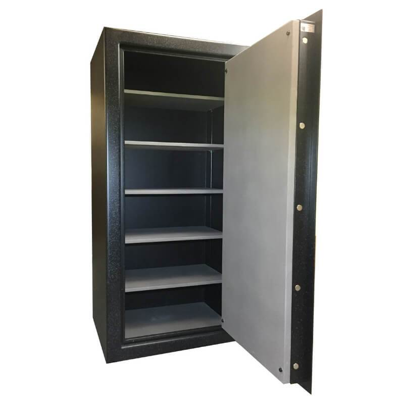 Sun Welding P36T Pony Express Series Fireproof Gun Safe in Matte Gray with Doors Opened, Revealing Interior Shelving