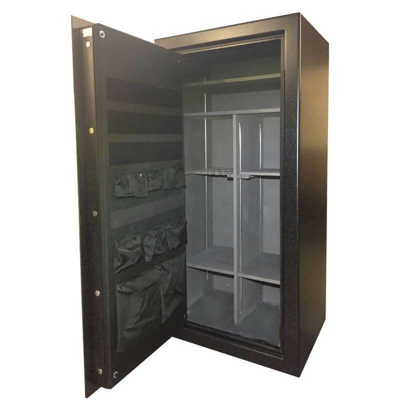 Sun Welding P36T Pony Express Series Fireproof Gun Safe in Matte Gray with Doors Opened, Revealing Interior Shelving and Pocket Door Organizer
