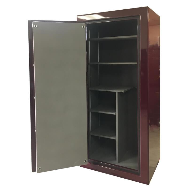 Sun Welding P36T Pony Express Series Fireproof Gun Safe in Gloss Burgundy with Doors Opened, Revealing Interior Shelving