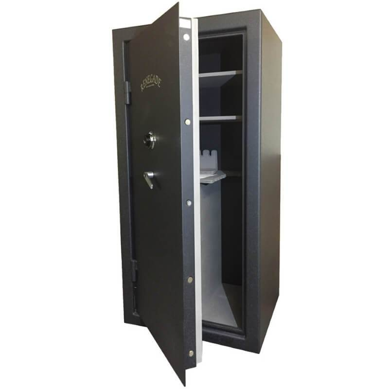 Sun Welding RS30 Renegade Series Fireproof Gun Safe in Matte Gray with Doors Slightly Opened Showing Thick Door Bolts.