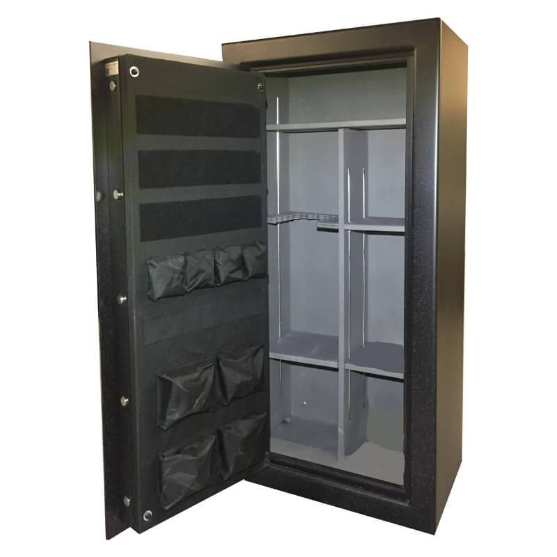 Sun Welding RS30 Renegade Series Fireproof Gun Safe in Matte Gray with Doors Opened Showing Interior Shelving and Pocket Door Organizer