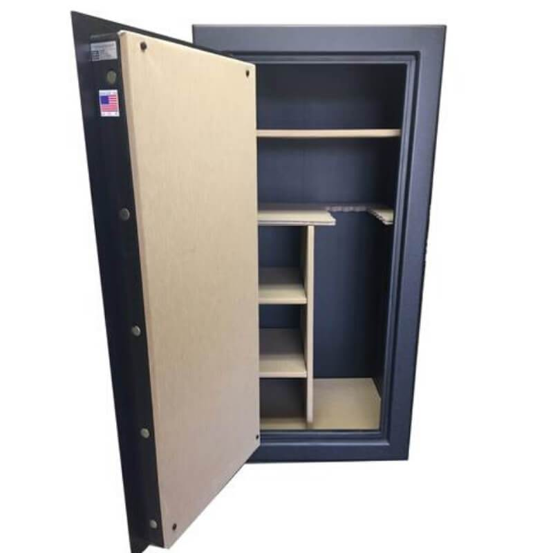 Sun Welding RS30 Renegade Series Fireproof Gun Safe in Matte Gray with Doors Opened Showing Interior Shelving without Pocket Door Organizer