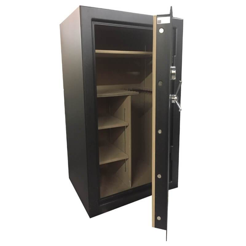 Sun Welding RS36 Renegade Series Fireproof Gun Safe in Matte Gray with Doors Slightly Opened Showing Thick Door Bolts and Interior Shelving