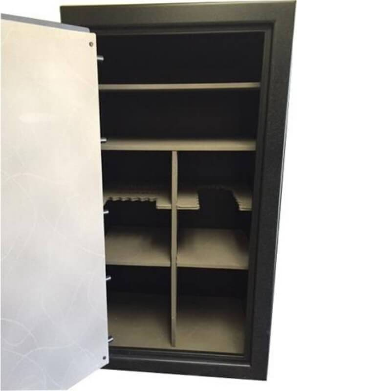 Sun Welding RS36 Renegade Series Fireproof Gun Safe in Matte Gray with Doors Opened Showing Interior Shelving without Pocket Door Organizer