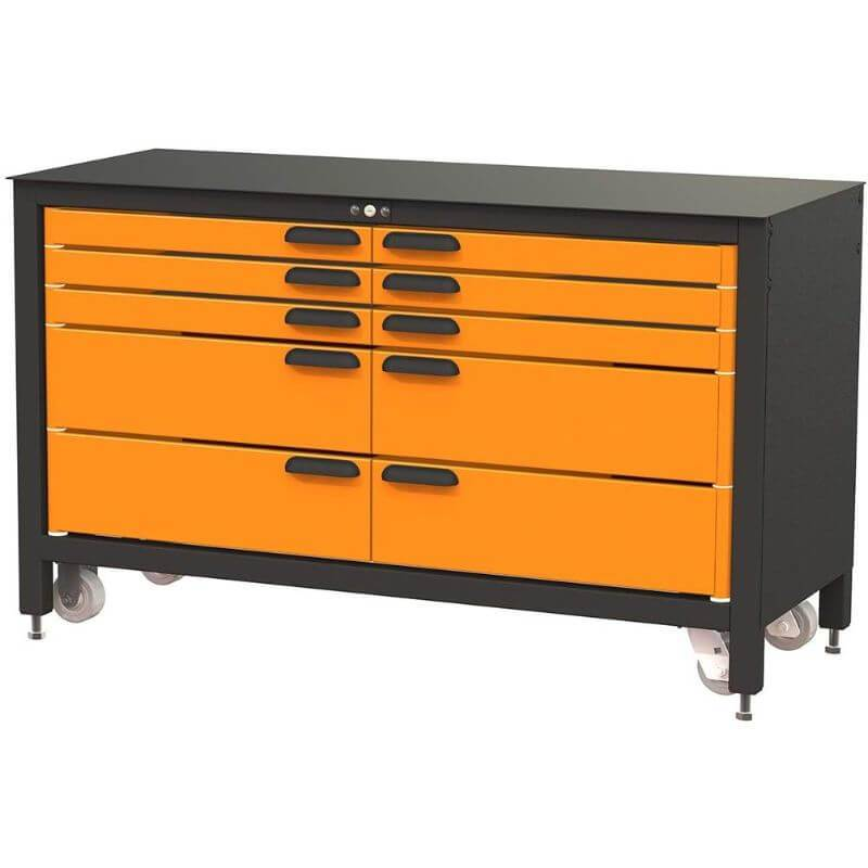 Swivel Storage Solutions MAX 60 Series 60-inch 10 Drawer Rolling Cabinet Front Right View with Drawers Closed