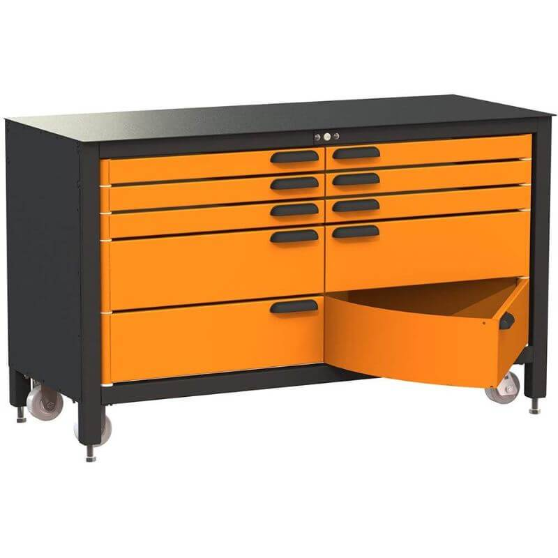 Swivel Storage Solutions MAX 60 Series 60-inch 10 Drawer Rolling Cabinet Front Left View with Bottom Drawer Opened
